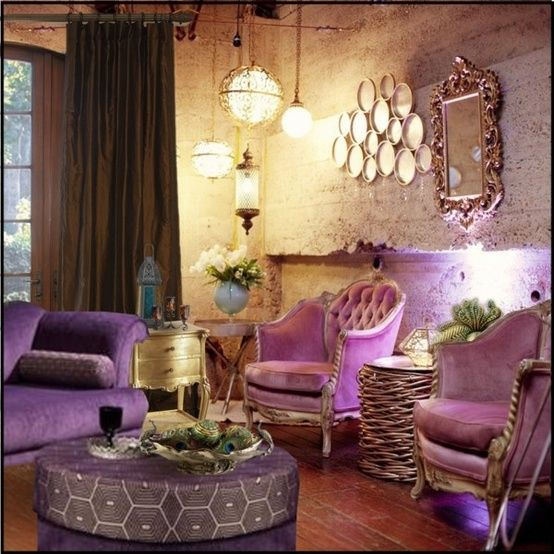 Living Room - Purple, gold and chocolate brown | Living ...