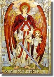 "The name Raphael means ""GOD heals."" He is Patron Saint of those who travel, doctors and nurses, and the young especially those who have the vocation of becoming a religious. He is called the Angel of love and happiness."