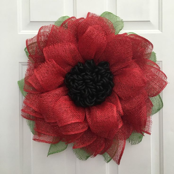 A personal favorite from my Etsy shop https://www.etsy.com/listing/290426693/red-sunflower-wreath-sunflower-burlap