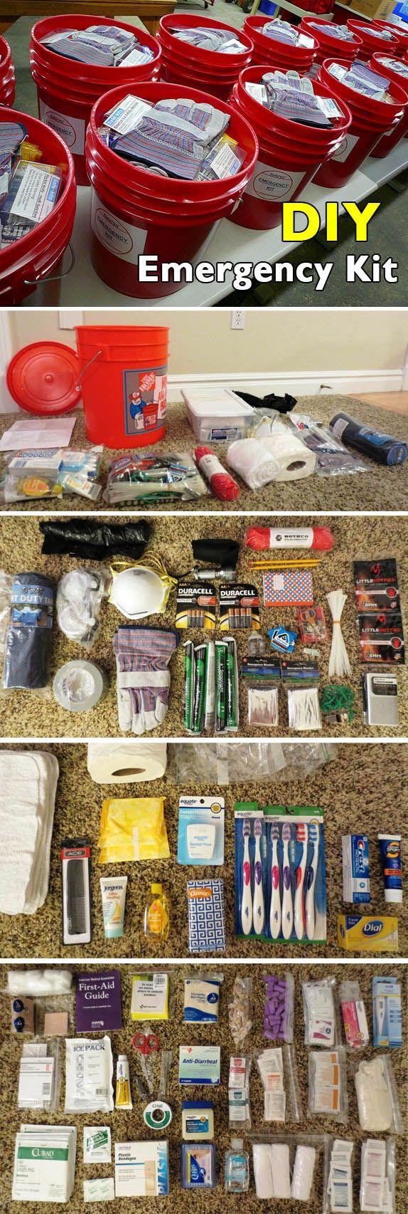 DIY  5 Gallon Bucket Emergency Kit    http://fivegallonideas.com/emergency-kit/