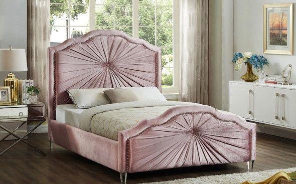 Rosie Pink Full Size Bed Meridian Furniture Contemporary Platform Bed Velvet Bed Frame