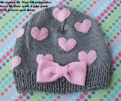 Grey Hat  and Pink  HEARTS Baby  Beanie  | NinisHandmades - Children's on ArtFire