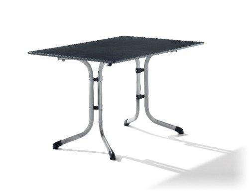 Sieger 1160-50 Boulevard-Klapptisch mit Puroplan-Platte 120 x 80 cm, Stahlrohrgestell graphit, Tischplatte Schieferdekor anthrazit