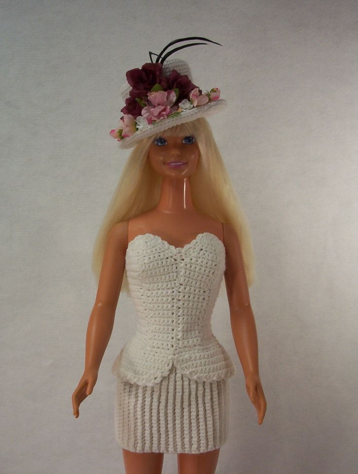 """Check out my blog http://www.marilynsmenagerie11.wordpress.com   My Size Barbie Doll (36""""/38"""") ~ She's Just To Beautiful For Words ~  Crochet Two-Piece Peplum Dress"""