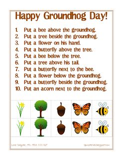 FREE!  Ms. Lane's SLP Materials: Spatial Directions (Groundhog Day) - Repinned by @PediaStaff – Please Visit ht.ly/63sNtfor all our pediatric therapy pins