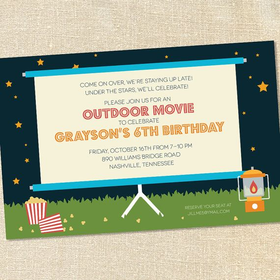 Sweet Wishes Outdoor Movie Under the Stars Party Invitations - PRINTED - Digital File Also Available