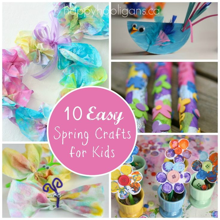 10 easy Spring Crafts for Kids. Easy enough for toddlers and preschoolers, but fun for kids of all ages from Happy Hooligans