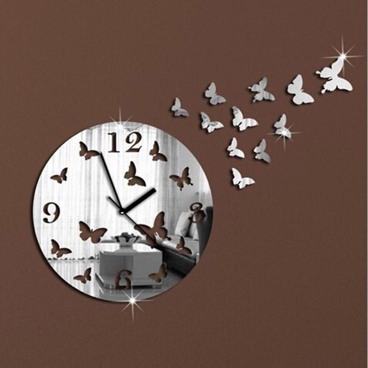 Miroir adhésif Horloge NIGHT LIGHT Miroir (Miroir mural)