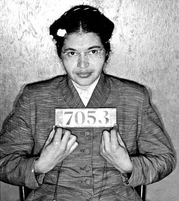 Rosa Parks booking photo. She was prosecuted along with Martin Luther King, Jr and 91 others for starting the 1955 Montgomery Bus Boycott.