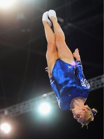No photoshop. No upside down pics. Just Claire Wright of Team GB in the women's Trampoline :)