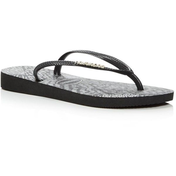 havaianas Slim Animals Flip-Flops ($29) ❤ liked on Polyvore featuring shoes, sandals, flip flops, strappy flip flops, flip shoes, animal shoes, havaianas sandals and animal flip flops