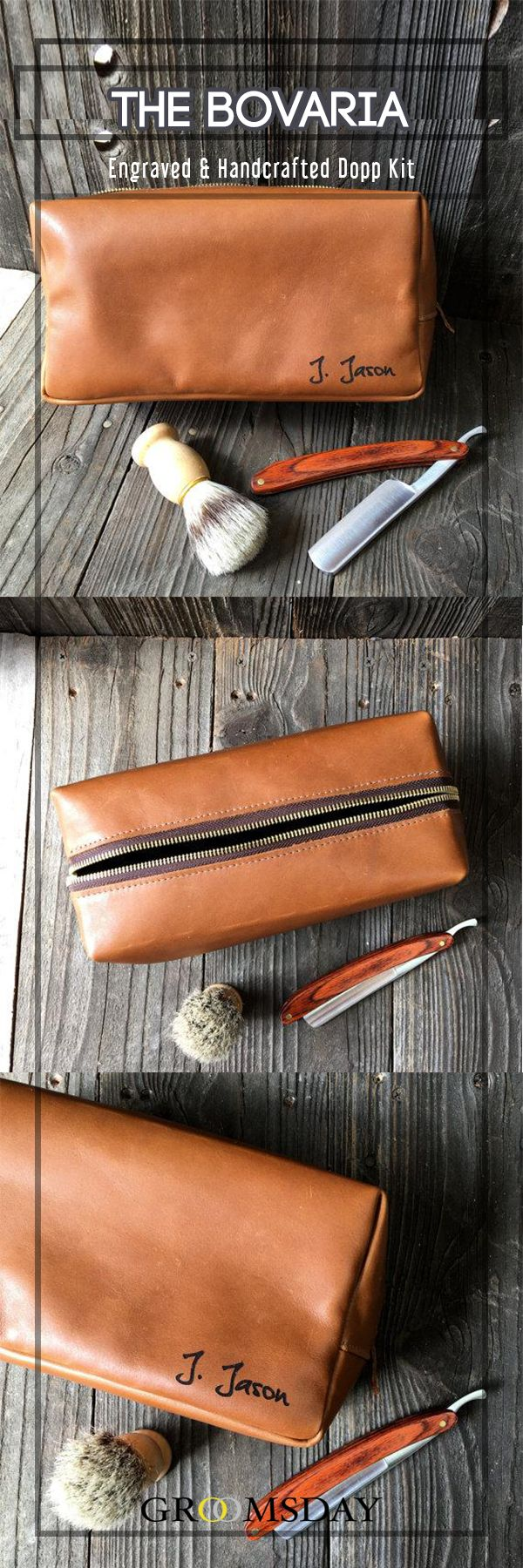 If you're gonna carry toiletries around, you better do it right. Not with a see-through case, or one that looks like a woman's purse, but with a bag that from a quick glance, tells you a man owns it. Our 100% genuine leather, handcrafted tan Bovaria Dopp Kit does exactly that, making this the perfect groomsman gift for your bros.  Share & repin!  Only from Groomsday | Groomsday.com #doppkit #shavingbag #mensaccessories #groom #groomsmen #bestman #giftsformen #groomsmengifts…
