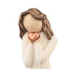 Damefigur, Holder Kobberhjerte - Farge Hvit, Brunt Hår, 20 cm