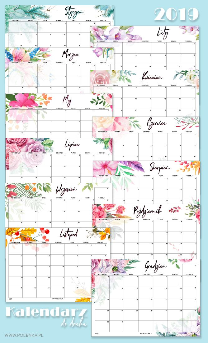 Kalendarz 2019 Do Druku Akwarelowe Wzory Diy And Crafts Planner Crafts