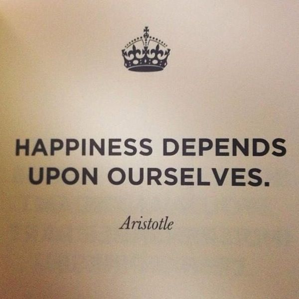 "Aristotle Quotes On Happiness: ""Happiness Depends On Ourselves"" -Aristotle #quote"