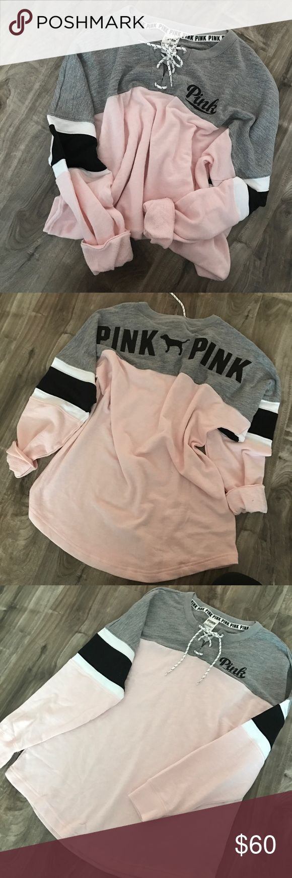 "• vs pink | lace up varsity crewneck • Brand: VS PINK Size: Small Condition: Brand new in packaging, only taken out for picture purposes. Description: Lace up varsity crew neck. Soft pink and gray. The lettering on the back is stitched.   ➕Additional pictures upon request.  ➕Pls ask ALL questions prior to purchasing. ➕Offers via offer button, only pls.  ➖No trades, no holds, no ""lowest?"" PINK Victoria's Secret Tops Sweatshirts & Hoodies"