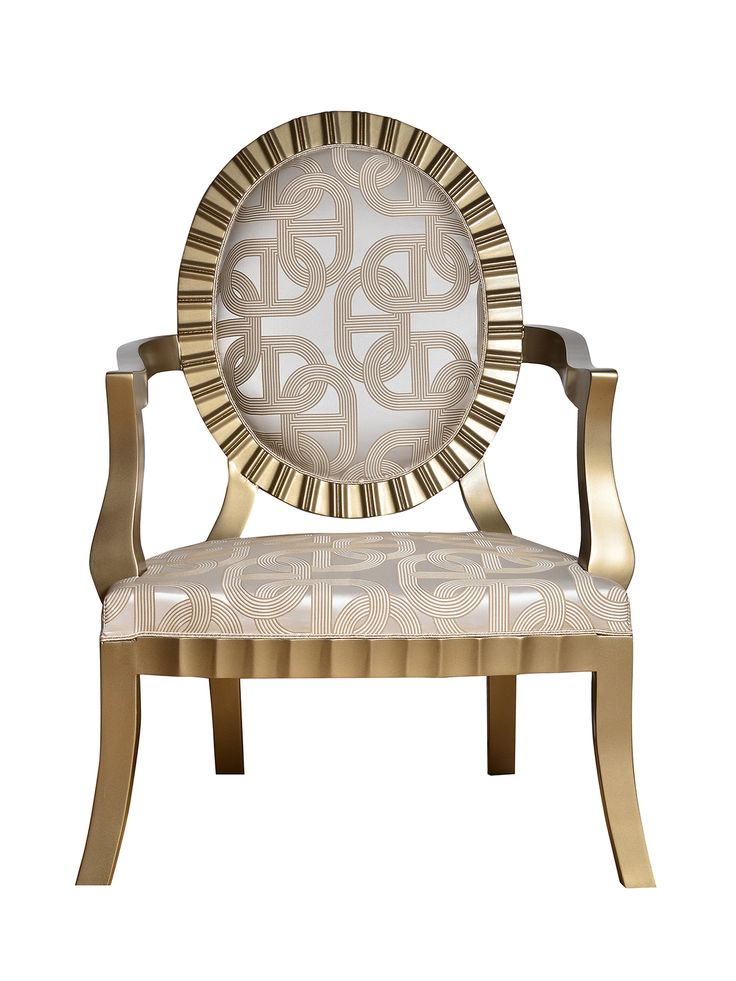"""Elegant ArtDeco style armchair upholstered in """"Hèrmes circuit 24"""" soft silk blend fabric. The frame is hand carved in beech wood finished in a versatile colour that matched both golden and silver accents.    Price - $2,428.17  info@artchairs.co.uk  Dimensions  Height -110 cm Foot Stool - 41 cm Seating Width - 75 cm"""