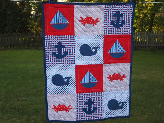 Great quilt for a nursery or playroom!Toddlers Quilt, Nautical Quilt, Baby Quilt Pattern, Baby Quilts, Baby Boys, Nautical Baby Quilt, Nautical Toddlers, Children Quilt, Boys Room