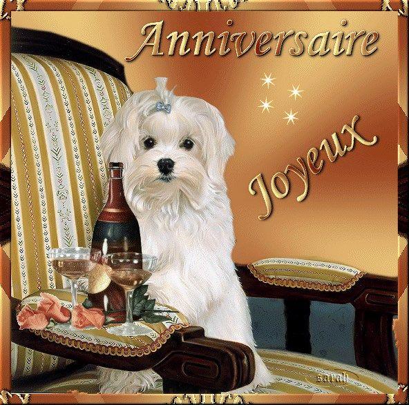 bon anniversaire avec chien