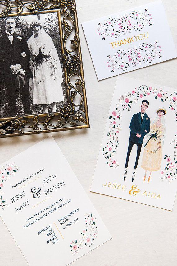 Custom Wedding Stationery // Illustrated Invitation, RSVP and Thank You Card // English Rose
