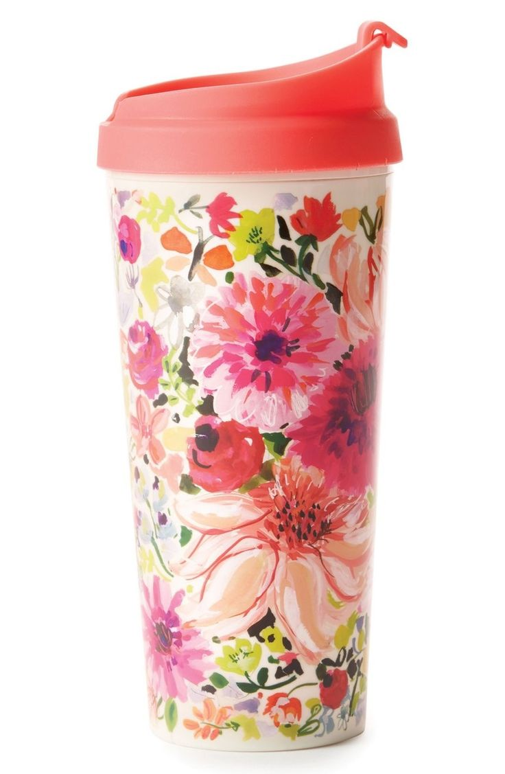 Whether you prefer an Americano or iced hibiscus tea, take it on the go with this Kate Spade thermal mug all abloom in bright flowers.