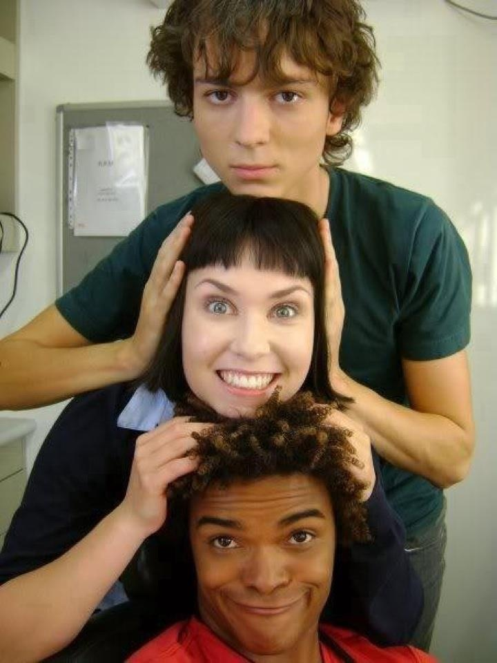 Power Rangers RPM's Milo Cawthorne (Ziggy), Olivia Tennet (Dr. K), and Eka Darville (Scott).