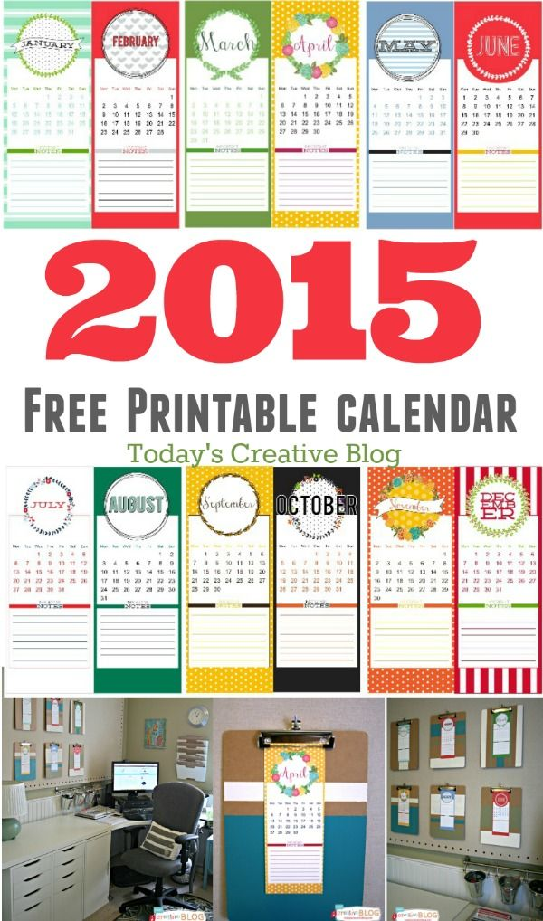 2015 Calendar FREE Printable | TodaysCreativeBlog.net