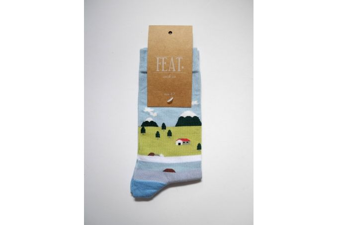 Ladies' blue lake house sock by FEAT. sock co.