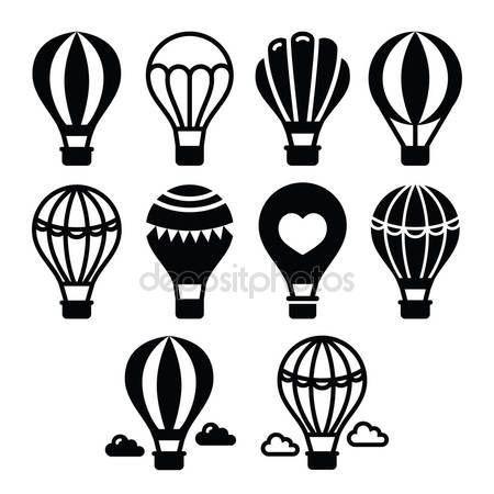 Θερμού αέρα μπαλόνι και σύννεφα εικόνες set — Αρχείο Εικονογράφησης #70399481