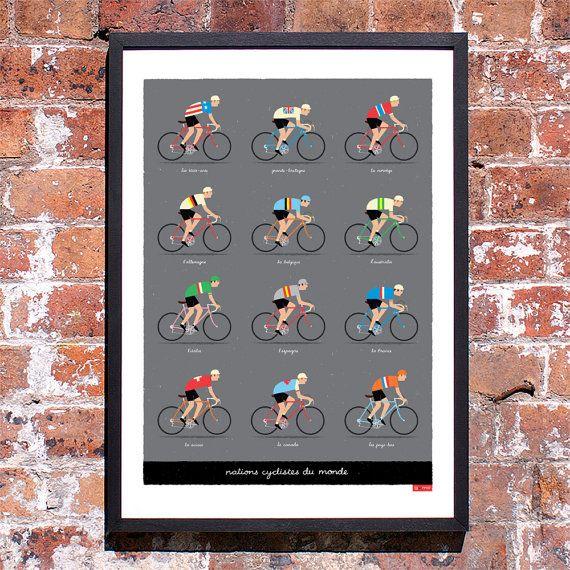 Fiets kunst, fietsers van de wereld, grote fiets-Poster  Wij houden van alle dingen fietsen; met name de klassiekers, Grand Tours en alle van de suggestieve