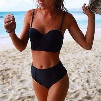 Fashion Solid Color High Waist Beach Bikini