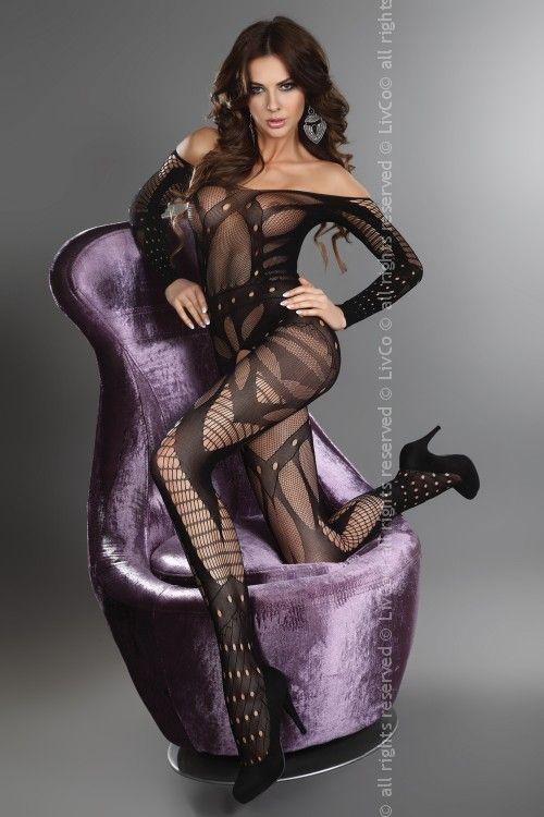 Catsuite Hassiba, un articolo affascinante, grazie al quale farai colpo.  Hassiba è un bodystocking molto originale, in tessuto elastico e piacevole al tatto. Dotato di un'apertura al cavallo.  Effetto piccante e molto coraggioso. Una miscela esplosiva di diverse larghezze e di diversi motivi, oltre alla seduzione del color nero.  Hassiba è la seconda pelle di ogni donna, un tatuaggio incredibile. Composizione 90%  poliamide 10% elastan.  Originale, firmata Livia Corsetti Sexy Lingerie.