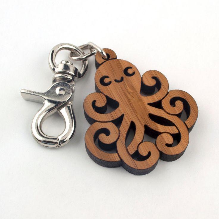 Wood Octopus Purse Charm: Bamboo Key Chain Zipper Pull.