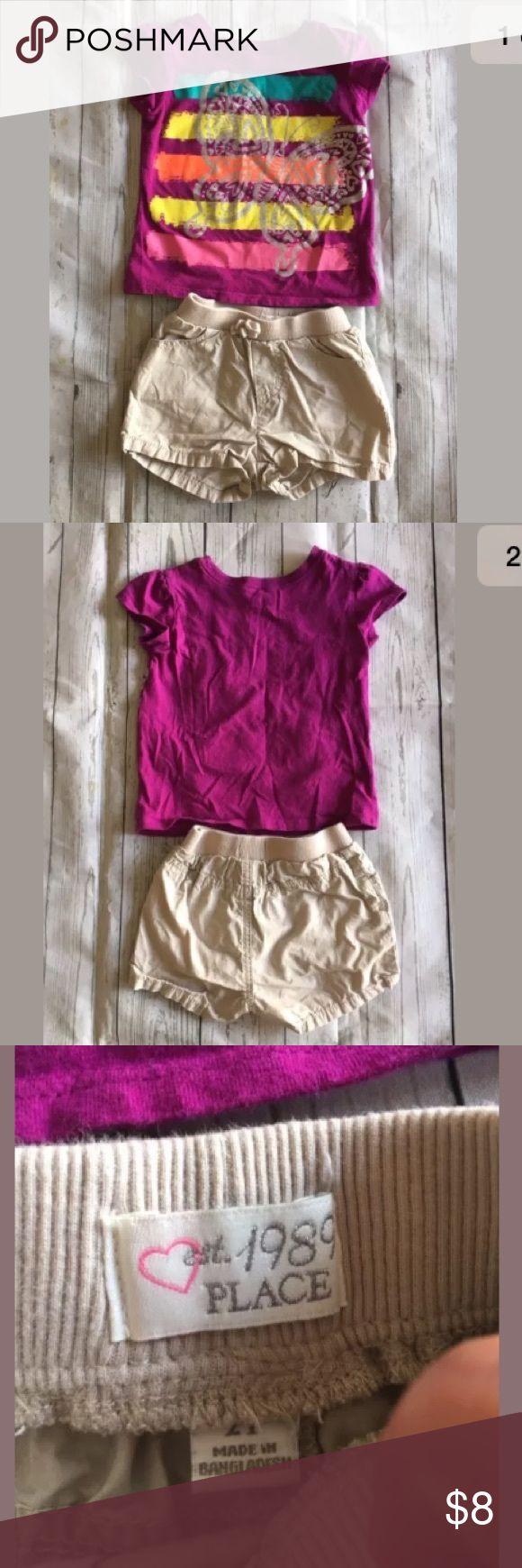 Children's Place Purple Shirt Beige Shorts Outfit Children's Place Purple Graphic Short Sleeve Shirt Beige Shorts Outfit Set 2T Children's Place Matching Sets