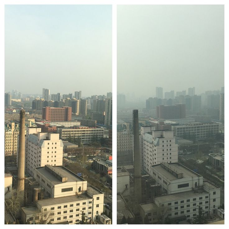 View from the hotel yesterday and today. 😮Smoggy Beijing! 😷Guess its better to stay inside for training! 👊😬🏊🏃🏼#ironmantraining #travel
