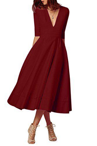 a839060c24dea YMING Femme Robe Manches Longues Année 50 Robe Vintage Col V Swing Cocktail  RobeBordeaux Grande TailleXXXL