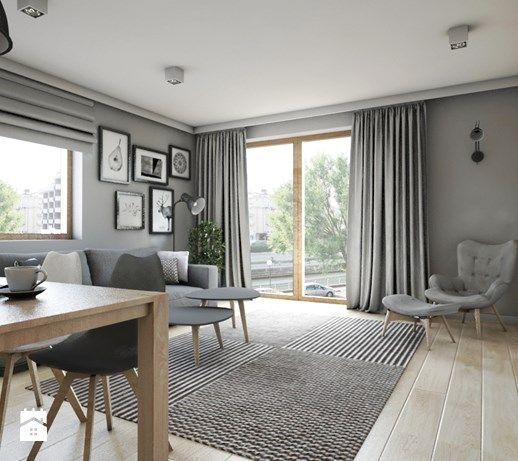 Mieszkanie 92m2 - Średni salon z bibiloteczką z jadalnią z tarasem / balkonem, styl skandynawski - zdjęcie od Pracownia Architektoniczna Małgorzaty Górskiej-Niwińskiej