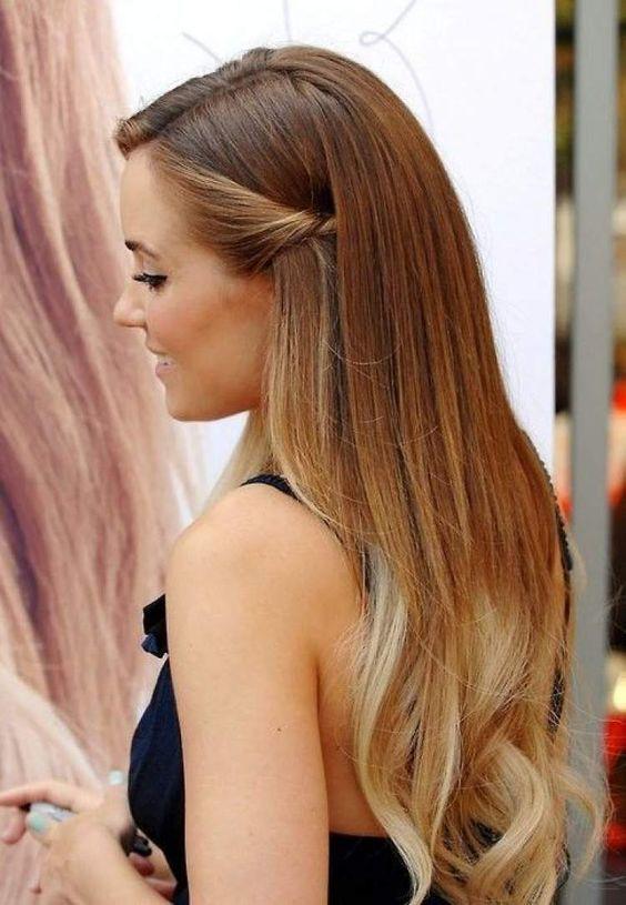 Penteado simples para cabelo liso e longo   Cabelo semi preso   Cabelo feminino com ondulado nas pontas