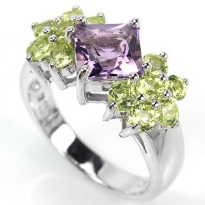 Cincin Natural Purple Amethyst & Green Peridot