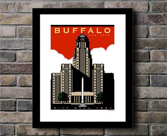 Buffalo City Hall Circa 1931 Digital Print by JamesGreenwaldDesign, $15.00