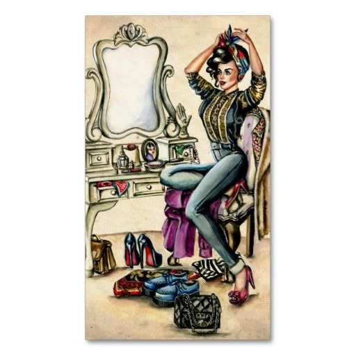 12 best vintage postcard business cards images on pinterest pretty pinup beauty business card reheart Image collections