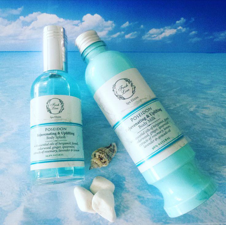 Blue for #poseidon! Αγαπημένα #musthave για το καλοκαίρι, το body milk και το body splash της σειράς Ποσειδώνας είναι πλούσια σε πολύτιμα αιθέρια έλαια, αντισηπτικά και τονωτικά βοτανικά εκχυλίσματα που δημιουργούν ένα δροσερό και θαλασσινό άρωμα με νότες από λεβάντα, εσπεριδοειδή και ξύλο κέδρου. Ιδανική επιλογή για γυναίκες και άνδρες! #rejuvenating #uplifting #essentialoils #lavender #lemon #cedarwood #summer2016