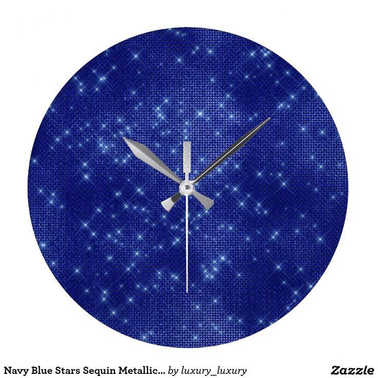 Navy Blue Stars Sequin Metallic Diamond Sparkly Clock