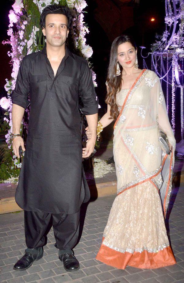 Aamir Ali and wife Sanjeeda Sheikh at Manish Malhotra's niece Riddhi's sangeet. #Bollywood #Fashion #Style #Beauty