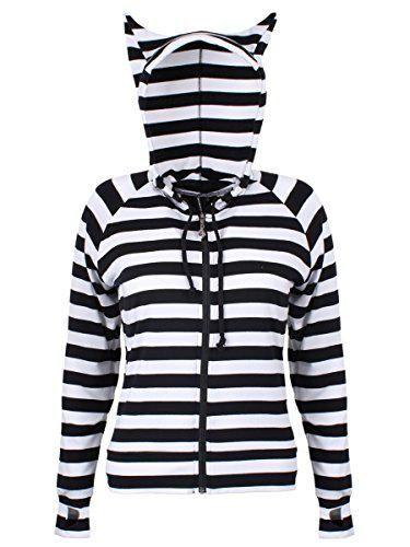 Banned Katzenohren Damen Pullover schwarz/weiß gestreift #sweater #women #covetme #banned