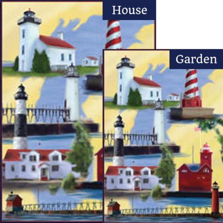 Michigan Lighthouses Flags Set (2 Pieces)