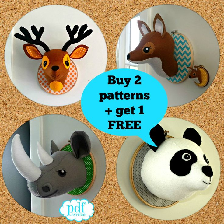Pattern deal. Buy 2 get 1 free. Felt faux taxidermy pdf pattern. Choose from Deer, Panda, Fox and Rhino. PDFs emailed to you. by cupcakecutie1 on Etsy