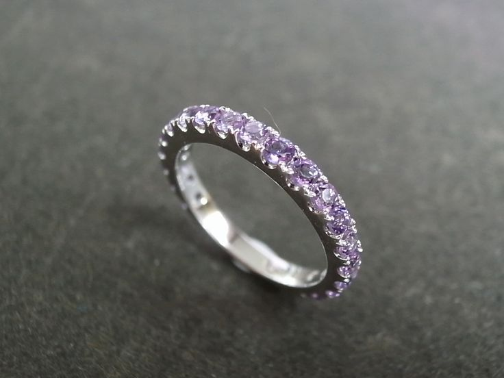 amethyst wedding ring in 14k white gold - Amethyst Wedding Rings