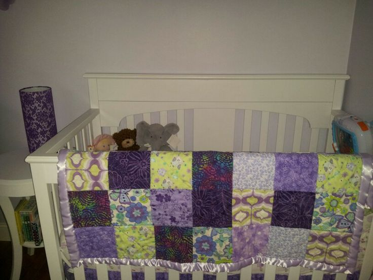 Homemade quilt for purple & green theme  Nursery