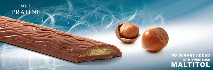 Mini bar with sweetener Maltitol, milk chocolate with a crunchy wafer and hazelnutcream filling. Cavalier the pioneer in no sugars added chocolate.
